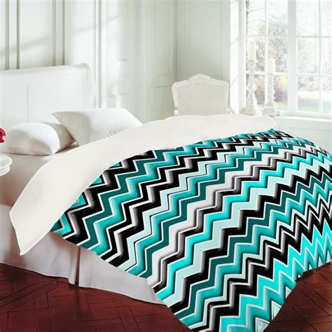 Turquoise And White Duvet Cover by Madart Inc Turquoise Black White Chevron Duvet Cover