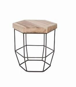 Petite Table En Bois : table basse ronde style industriel en bois et m tal flexo ~ Teatrodelosmanantiales.com Idées de Décoration