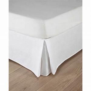 Cache Sommier Blanc : cache sommier 160 x 200 cm en lin lav blanc morphee maisons du monde ~ Teatrodelosmanantiales.com Idées de Décoration