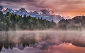 Landscape, Nature, Lake, Forest, Mist, Mountain, Snowy