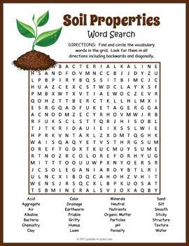 science vocabulary word search worksheet properties of soil word search activities science