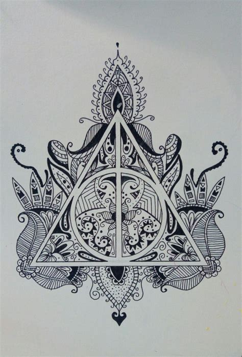 dessin au feutre noir harry potter mandala tattoo ideas
