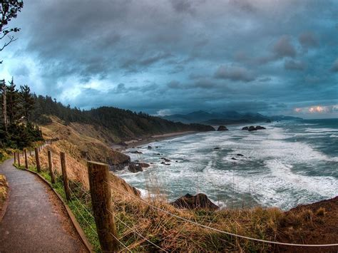 sea coast path  ocean ecola state park oregon