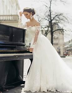 Aliexpresscom buy elegant long sleeves white ball gowns for Beautiful and elegant wedding dresses