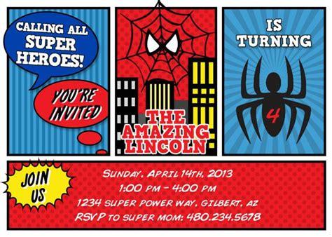 printable spiderman invitation card