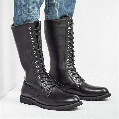 Knee High Boots Mens Military Leather Men Long