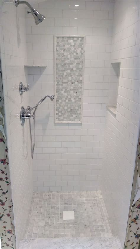 white subway marble tile shower search
