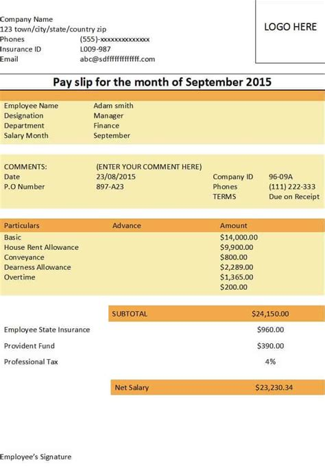 payslip templates excel  formats