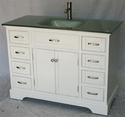 46 inch bathroom vanity transitional shaker white color with glass top 46 quot wx21 quot dx35 quot h s2422w