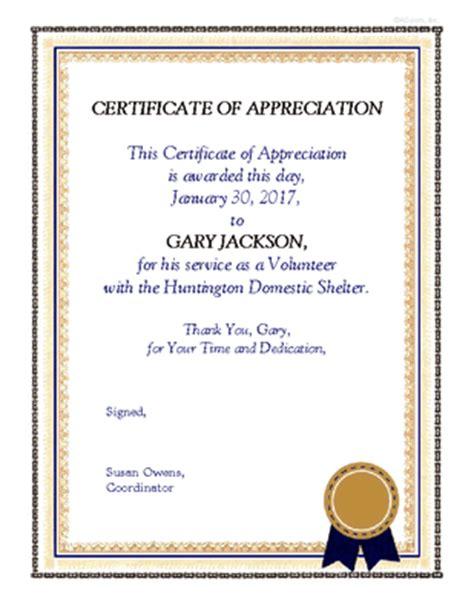 volunteer appreciation certificate encourage support