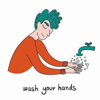 Hands Washing Covid Cartoon Mains Sanitize Laver