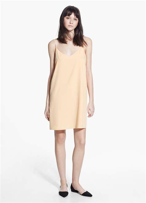 flowy dresses lyst mango modal flowy dress in orange