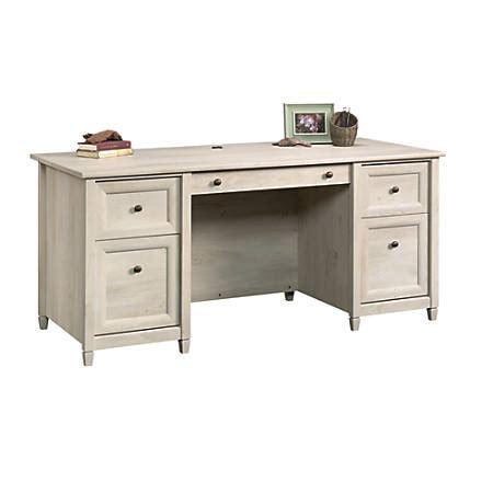 sauder edge water computer desk sauder edge water executive desk chalked chestnut by