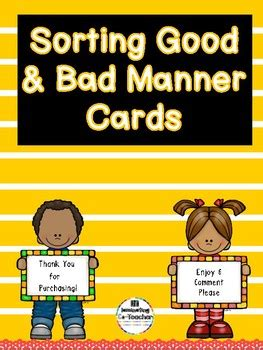 good bad manners sort great  special education tpt
