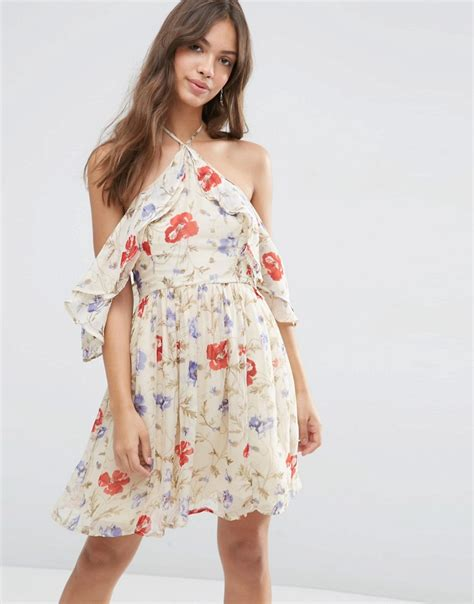 asos asos cold shoulder mini dress  ruffle sleeve