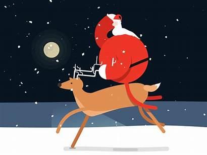 Santa Claus Animated Reindeer Christmas Flying Gifs
