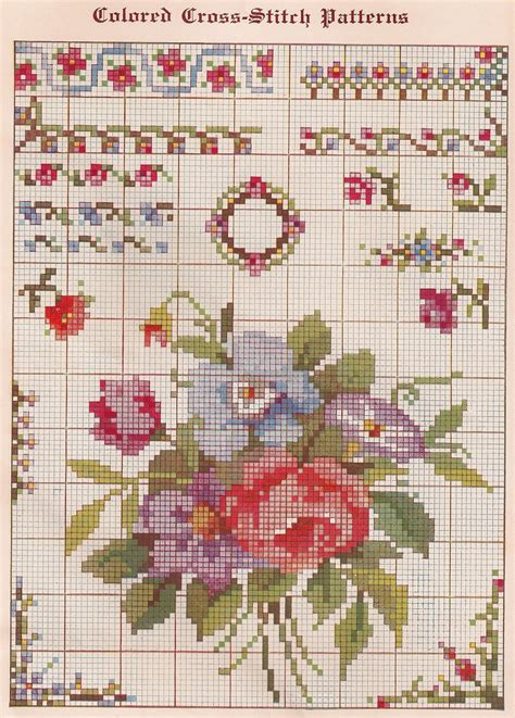 sentimental baby  vintage colored cross stitch pattern