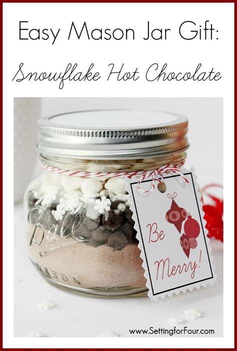 diy mason jar gift snowflake hot chocolate setting