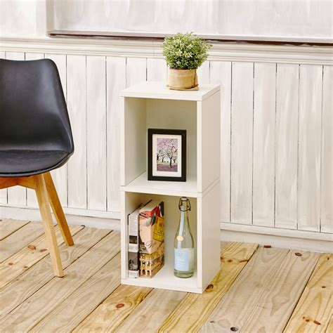 Bookcase 2 Shelf by Way Basics Narrow 2 Shelf Bookcase And Shelving White Ebay