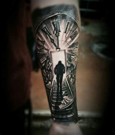 clock stairs black grey tattoo ink tattoos tattoo