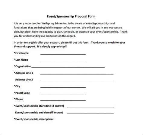 sponsorship proposal templates excel  formats