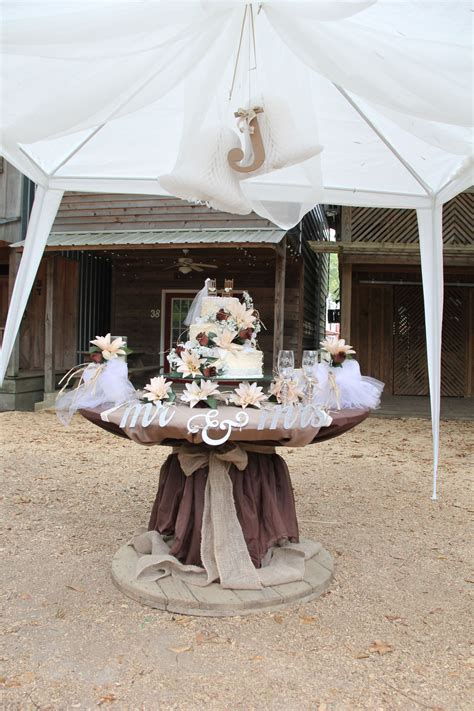 wedding cake table Just a simple large decorated spool