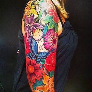 3d flower and butterfly sleeve tattoos Design Idea