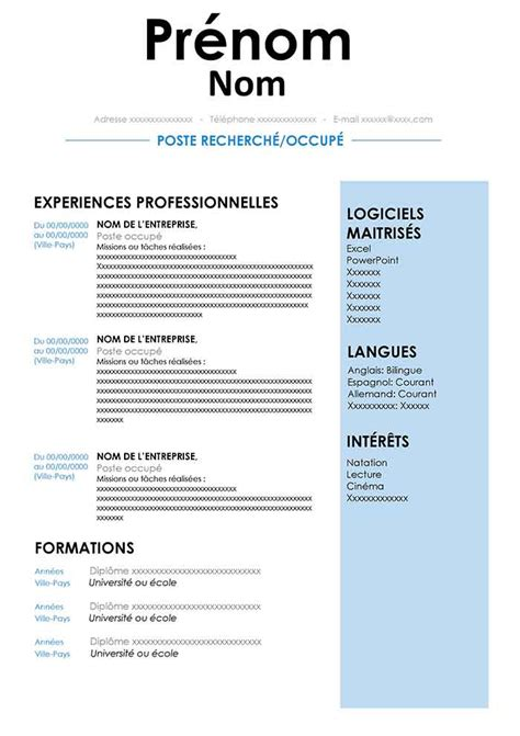 Model Cv Francais Simple by 15 Modele De Cv Simple Exemple Cv Etudiant