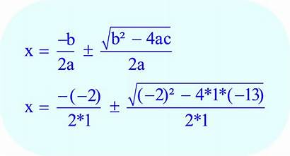 Quadratic Equation Values Into Formula Substitute Coefficients
