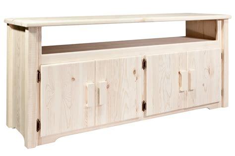 pine log furniture unfinished homestead tv standblack