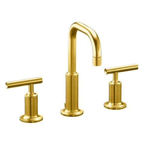 kohler purist bathroom faucet shop kohler purist vibrant modern brushed gold 1 handle