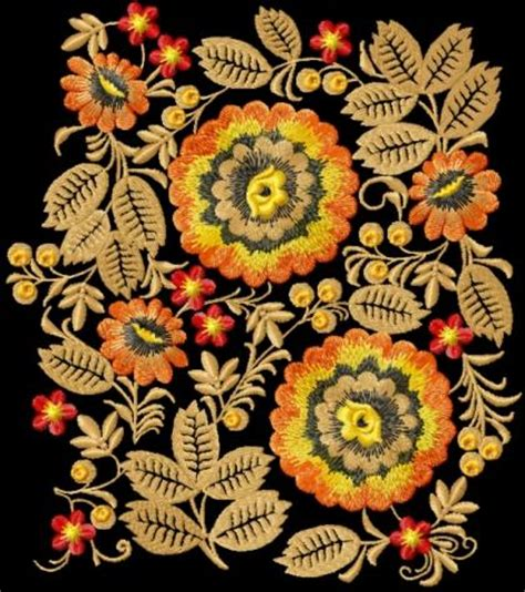 advanced embroidery designs wild flowers decoration motif