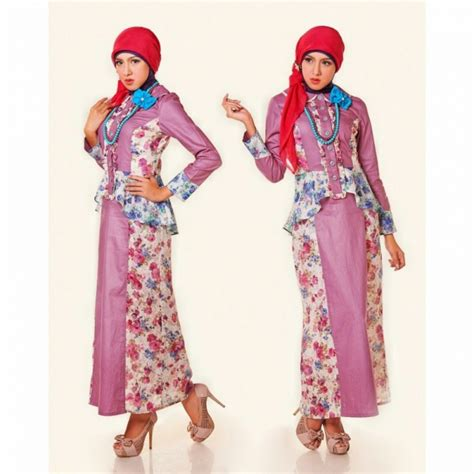 model long dress batik modern kombinasi brokat
