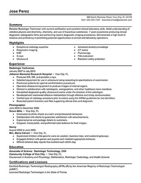 Sle Resume For Technologist by Radiologic Technologist Resume Sles