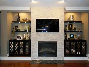 Image, Result, For, Shelving, Ideas, Beside, Stone, Fireplace, With, Tv, Above