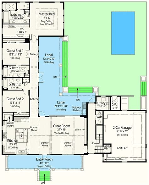 plan zr net  ready house plan   shaped lanai    shaped house plans