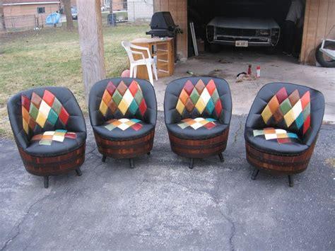 1940s set of 4 whiskey barrel argyle pattern swivel chairs