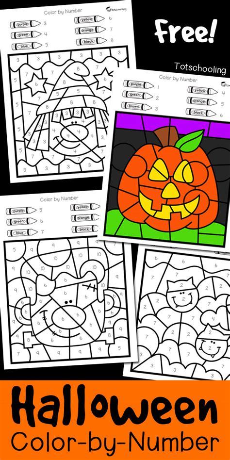 halloween color  number totschooling toddler preschool kindergarten educational printables