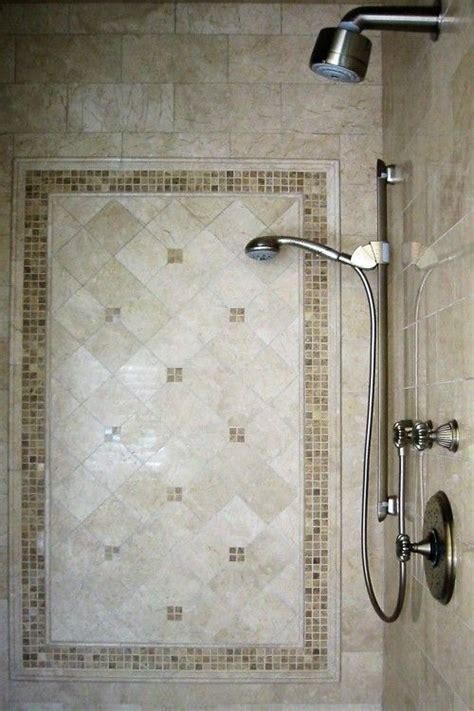 pretty framed tile inlay  shower master bathroom