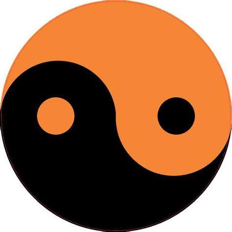 5in x 5in orange and black yin yang sticker vinyl vehicle
