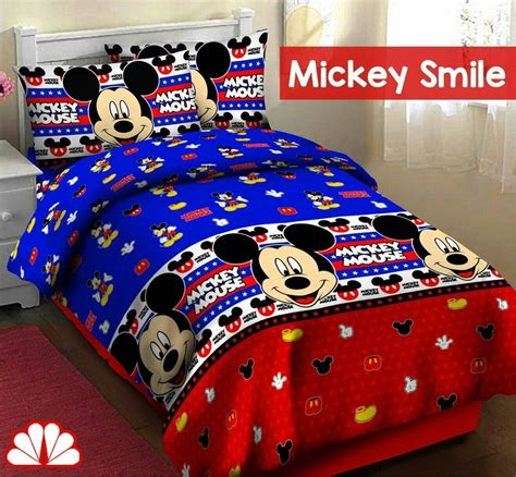 Sprei Katun Mickey jual sprei katun fortuna mickey smile ukuran 180x200x35 di