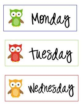 owl day   week labels monday  friday