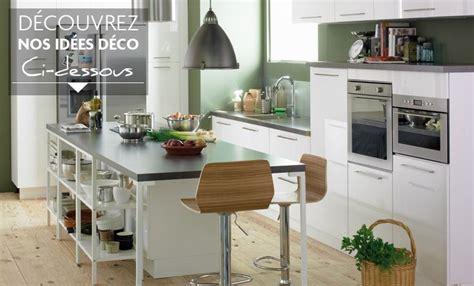 deco cuisine et blanc style idée déco cuisine gris et blanc