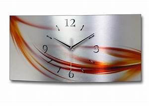 Designer Wanduhren Wohnzimmer : wanduhr abstrakt rot metallic wag053fl ~ Whattoseeinmadrid.com Haus und Dekorationen