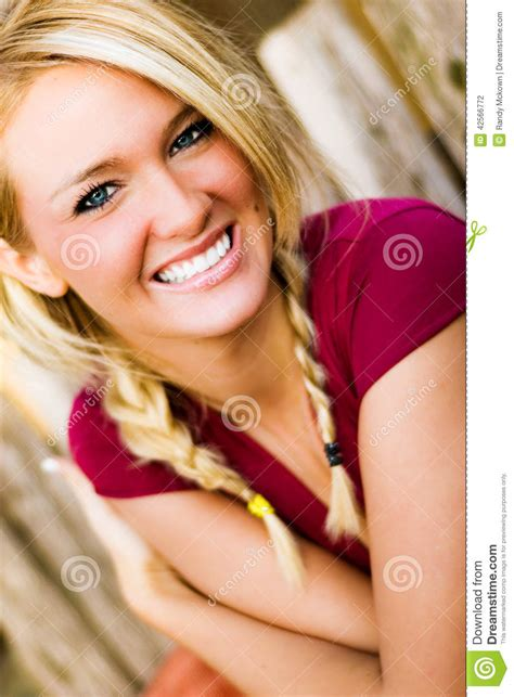 Woman Smiling Blonde Model For Fall Fashion Stock Photo