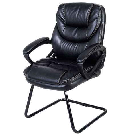 Goplus Black Mid Back Sled Base Guest Visitor Chair Office