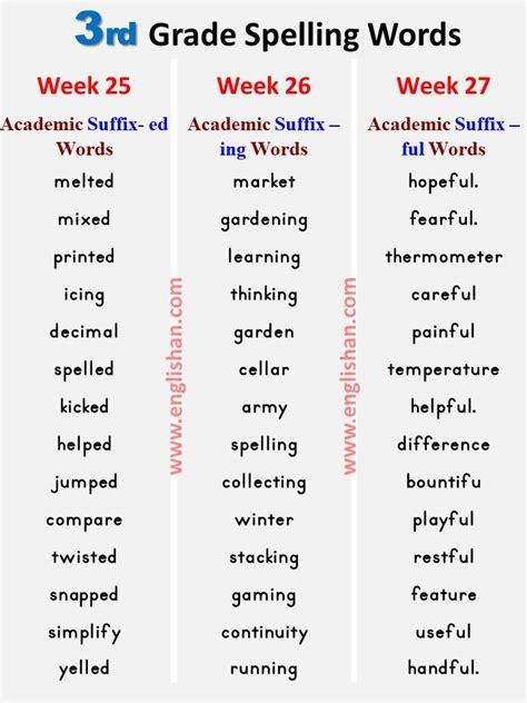 grade spelling words list   grade spelling