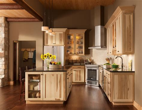 american woodmark cabinets colors the lodge look rustic charm of shorebrook hickory rustic