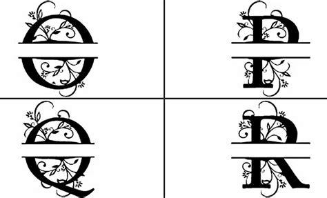 floral split monogram custom fonts monogram silhouette projects