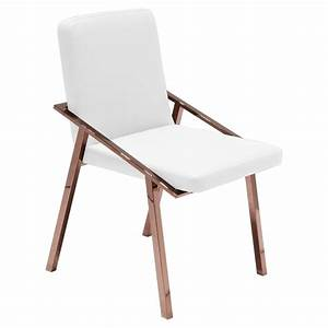 Zoey Modern White Rose Gold Arm Dining Chair Kathy Kuo Home